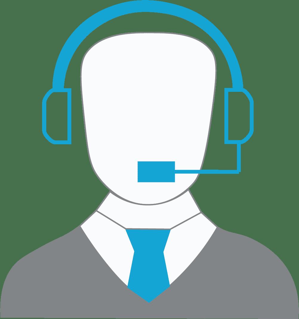 icono de una persona usando audífonos con micrófono
